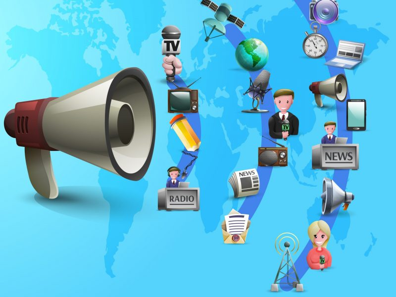 Mass media poster with news makers and devices icons on waves from big megaphone cartoon vector illustration