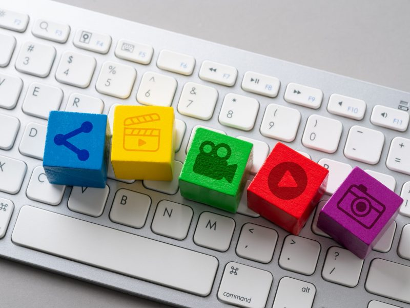 Social media concept icon on keyboard