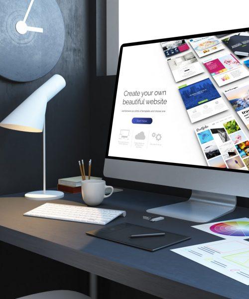 website builder workplace mockup interior 3d rendering